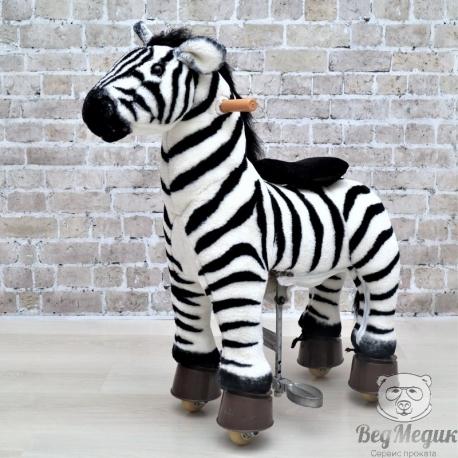 Каталка механическая лошадка Ponycycle Зебра малая